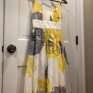 Anthropologie White and Yellow Posie Dress Size 6